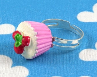 Kawaii Cupcake Ring Adjustable (Pink)