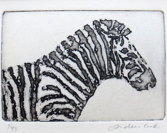 zebra - original etching and aquatint.
