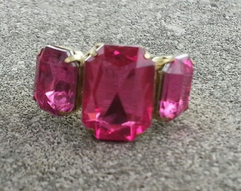 1960s Emerald Shaped Faux PINK TOURMALINE Adjustable Ring NICE
