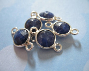 Shop Sale.. 1 pc, SAPPHIRE Gemstone Connectors Links, Bezel Set, 925 Sterling Silver, Luxe AAA, 14x9 mm, Round, September birthstone gcl10