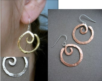 Hanging XS Pound Swirl  in Copper, Bronze, Sterling, 24k Gold Plate, Black Gunmetal Plate or Sterling silver plate.