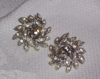 Vintage Sarah Coventry Rhinestone Earrings  - Clip Ons