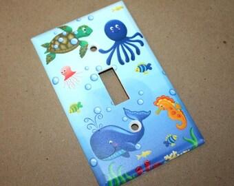 Ocean Creatures Kids Bathroom Bedroom Single Light Switch Cover LS0035