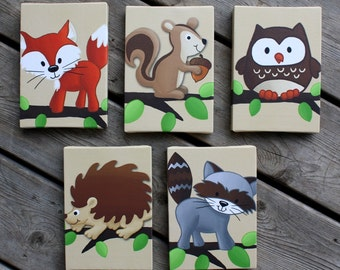Set of 5 Mini Forest Critters Stretched Canvases Baby Nursery CANVAS Bedroom Wall Art 5CS004