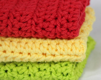 Crochet Dishcloths Washcloths Fresh Apple Colors Set of 3