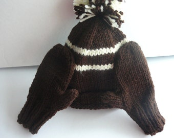 Knit Hat and Mittens Set/Toddler/Brown and Ivory           READY TO SHIP          Size 12 to 24 Months