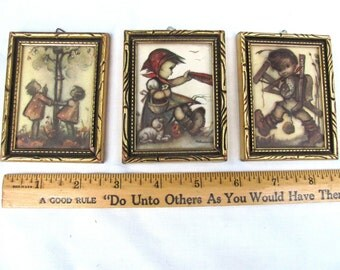 3 Miniature Hummel pictures in frames, marked Made in Germany, spring sale!