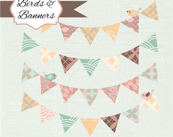 Instant Download: Birds and Banners Digital Clipart Set - Audrey