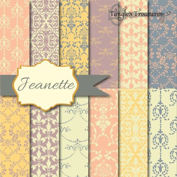Instant Download - Jeanette Pastels: 12 Digital Paper