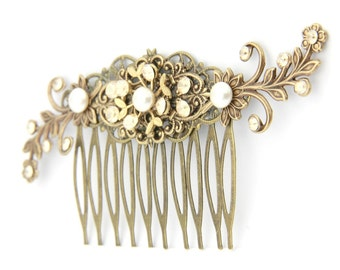 Bridal Antique Gold Hair Comb Wedding Hair Comb Vintage Style Hair Piece with Ivory Swarovski Pearls and Golden Shadow Crystals