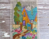 Vintage Needlepoint Cottage Garden