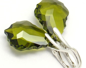 Olivine Green Earrings,Baroque Swarovski Crystal 22mm Sterling Silver Earrings,Choose Your Crystal Color,Bridal Bridesmaids Wedding Earrings