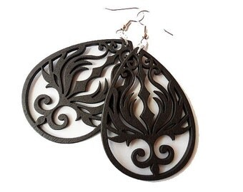 Dark Brown Wooden Phoenix Earrings, Teardrop, Boho, Surgical Steel