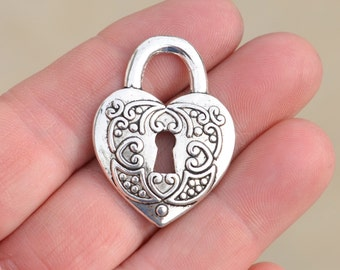 5  Silver Heart Padlock Pendants SC3260