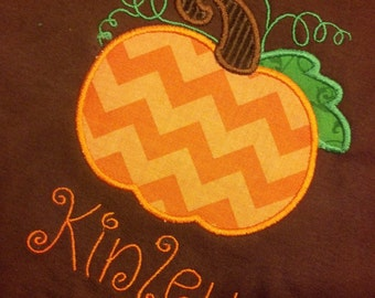 Pumpkin Fall Boys Girls Custom  Personalized shirt Chevron Halloween Thanksgiving Name Included