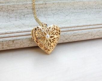 24k Gold Plated Heart Locket, Heart Locket , Gold Locket, Bridal Locket ,Bridesmaids necklace, Bridesmaids Gift