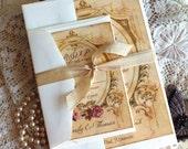 Romantic Vintage Wedding Invitation Suite Handmade SAMPLE by avintageobsession on etsy