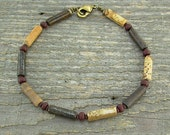Stone Anklet - Natural Brown Stone Ankle Bracelet - Unisex or Mens Anklet - Small to Large Size