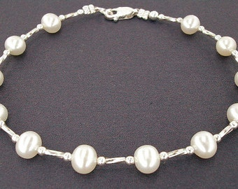 Pearl Anklet - White Pearl Ankle Bracelet with Sterling Silver - Small to Large Size - 9, 10, 11, 12, 13, or 14 Inches - Wedding or Casual