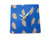 Desk Clock, Battery Clock with Gold and White Reed Design on Blue Background