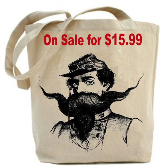 Canvas Tote bag ... classy  Mustache Man... christmas gift