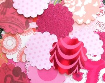DESTASH - 25 Assorted Pink 2 inch Scallop Circle Embellishments
