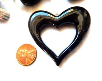 Vintage Plastic Black Heart Pendants x 2