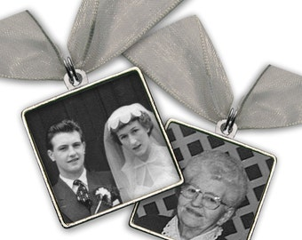 "DOUBLE SIDED Wedding Bouquet Photo Charm  Wedding Accessories Silver Pewter - Square 1"" x 1"""