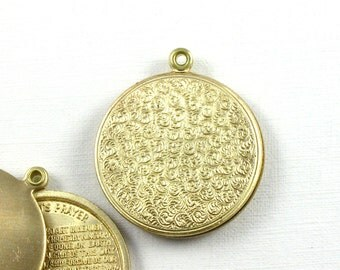 large Round PRAYER LOCKET jewelry pendant in gold copper color combo . Our Father . 32mm x 27mm (ST24). Please read description