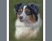 Black Tri Australian Sheepdog Dog Fine Art Note Cards - EIGHT PACK