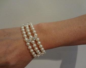 Wedding Jewelry Bridal Pearl Bracelet, 3 strand bracelet, Pearl Cuff, wedding accessories Rhinestone Jewelry, Vintage Style Pearl Bracelet