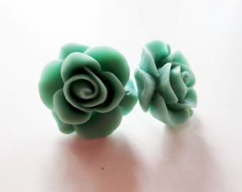 Teal rose flower earrings. Stud earrings. Blue green rose earrings sterling silver.