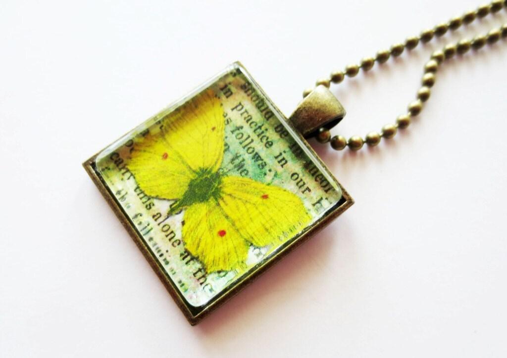 butterfly necklace glass tile pendant square pendant