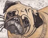 Pug Art Print, Original Fine Art, Collograph, short snouted dog - Pug 10