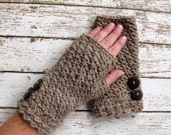 On Sale Taupe Wool Blend Fingerless Womens Winter Gloves, Brown Fingerless Mittens