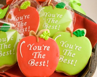 Apple Cookies, School Favors (12 favors, bagged and bowed)