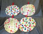Table Protector Pot Pads, Strawberries N Kitchen Fruit Prints, Set of 4