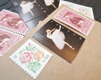 Ballerina Roses .. UNused Vintage Postage Stamps  .. post 5 letters