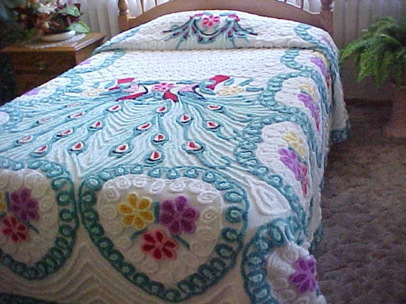 Chenille bedspread with aqua peacocks - 70.0KB