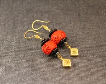Chinois Asian Inspired Oval Cinnabar, Hematite, Black Onyx and Bali Vermeil Bead Asian Inspired Earrings