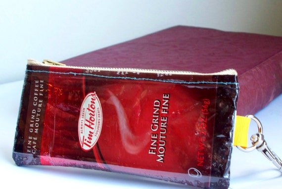 canadian coin purse UPCYCLED Tim Hortons coffee bag RECYCLED into key holder coin purse