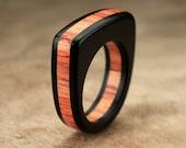 Flat Top Ebony Tulipwood Ring - 7mm