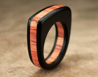 Flat Top Ebony Tulipwood Ring - 7mm