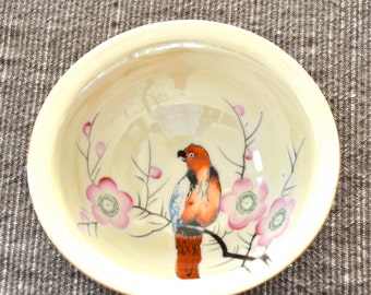 Lustreware Bowl & Plate - Japan - Pink Blossoms and Parrot - Hand Painted - Trico