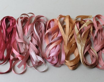 Pink and Brown Mix - 14 metres of 7mm silk ribbon