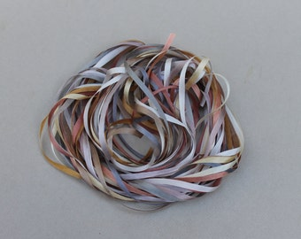 Creams, Browns and Greys - 12 metres of 3.5mm solid colour silk ribbon