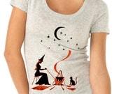 halloween t-shirt - womens t-shirts - halloween shirt - witch shirt - GYPSY WITCH - women's heather grey scoop neck vintage alloween t-shirt