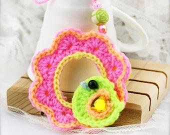 Crochet bird on wreath ornament x 4 (Combo A)