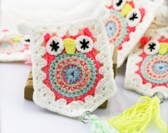 Crochet owl garland x 1