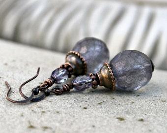 Matte Purple Czech Glass Drop Earrings, Bohemian, Antique Copper, Frosted Glass, Indigo Blue